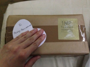 Here's the box before I unwrapped it, it had a little heart-shaped tag addressed to 'Penny Parsimonious' on it!