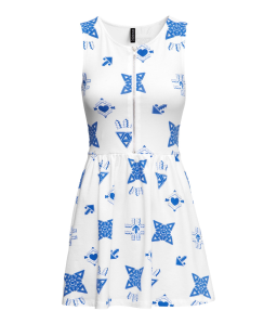 H&M Blue White Dress